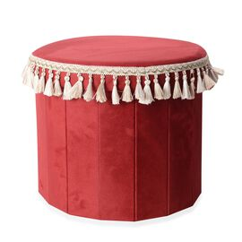 Red Colour with White and Beige Tassels Foldable Storage box with Fringe Round (Size 43x40 Cm)