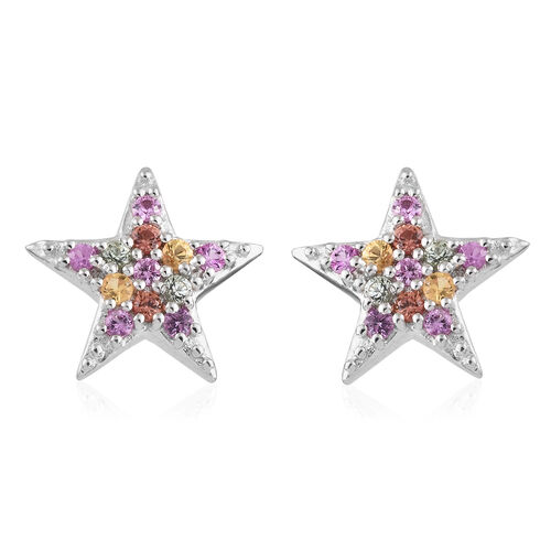 Multi Colour Gemstone (Rnd) Star Stud Earrings (with Push Back) in Platinum Overlay Sterling Silver