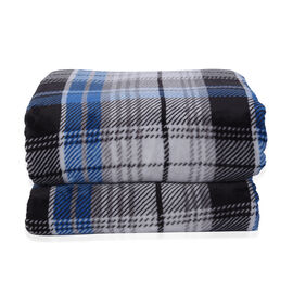 Check Pattern Flannel Sherpa Blanket (Size 200x150cm) - Blue, Black and Grey