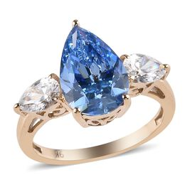 J Francis Made with Blue and White SWAROVSKI ZIRCONIA Trilogy Design Ring in 9K Gold