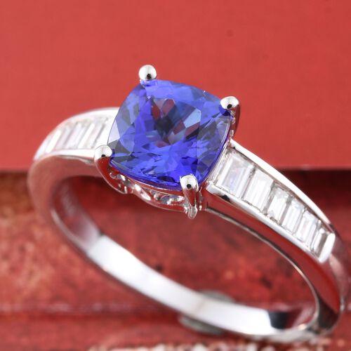 ILIANA 18K White Gold AAA Tanzanite (Cush 1.75 Ct), Diamond (SI G-H) Ring 2.175 Ct.