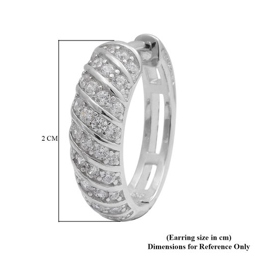 ELANZA AAA Simulated Diamond Hoop Earrings in Rhodium Overlay Sterling Silver, Silver wt. 6.00 gms