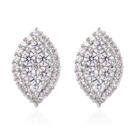 J Francis Platinum Overlay Sterling Silver Cluster Earrings (with Push Back) Made with SWAROVSKI ZIR