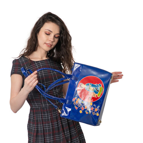 Japanese Art Collection 100% Genuine Leather Dark Blue and Multi Colour Embossed Japanese Lady with Floral Print Shoulder Bag with Removable Shoulder Strap (Size 40x25.4x11.43 Cm)