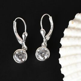 J Francis Sterling Silver Lever Back Earrings Made with SWAROVSKI ZIRCONIA 2.88 Ct.