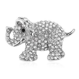 White and Black Austrain Crystal Elephant Brooch in Silver Plated
