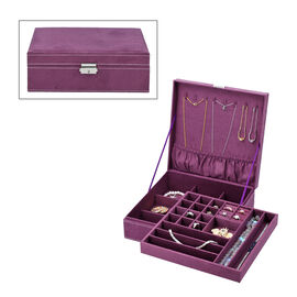 2 tier velvet Jewelry box with lock and key top inside has 8 necklace hooks pocket removable tray has 13  sections 8 Ring slot and 5 long bracelet sections bottom tier has 9 sections