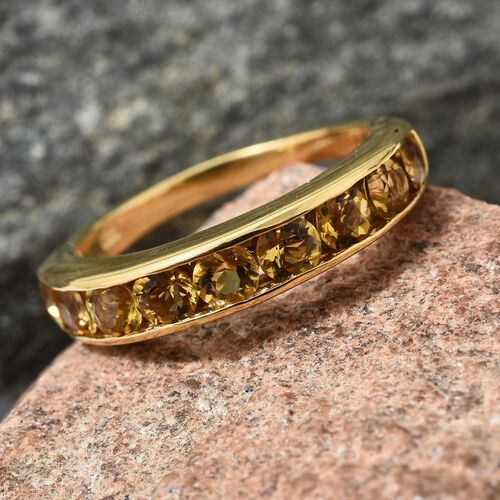 Heliodor (Rnd) Half Eternity Band Ring in 14K Gold Overlay Sterling Silver 1.500 Ct.
