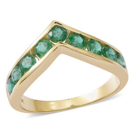9K Yellow Gold AA Kagem Zambian Emerald (Rnd) Wishbone Ring 1.250 Ct.