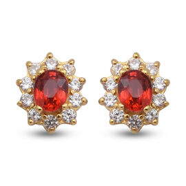 Red Sapphire and Natural Cambodian Zircon Stud Earrings (with Push Back) in Yellow Gold Overlay Ster
