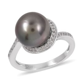Tahitian Pearl (Rnd), Natural Cambodian White Zircon Ring in Rhodium Overlay Sterling Silver