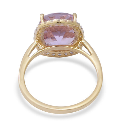 9K Yellow Gold AA Kunzite (Cus 12x10mm) and Natural Cambodian Zircon Ring 7.52 Ct.
