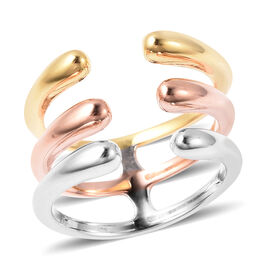 LucyQ Tri-Colour Drip Collection - Tricolour (Rose, Yellow and White) Overlay Sterling Silver Ring