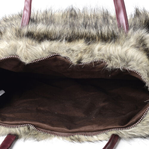 Luxurious Super Soft Faux Fur Large Tote Handbag with Cotton Twill Lining (Size 40x30x15 Cm) Khaki and Black Colour