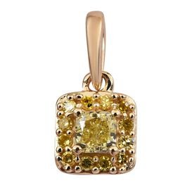 9K Yellow Gold Natural Yellow Diamond (Cush and Rnd) Pendant 0.33 Ct.