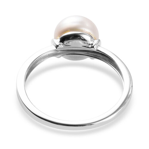 9K White Gold Freshwater Pearl Solitaire Ring