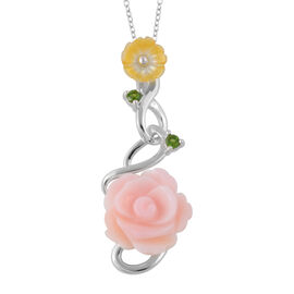 Pink Mother of Pearl (4.00 Ct),Yellow Mother of Pearl,Russian Diopside Sterling Silver Pendant With