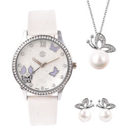 3 Piece Set - Simulated Diamond, White Shell Pearl and White Austrian Crystal Butterfly Watch with W