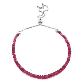 African Ruby (Rnd) Beads Bracelet (Size 6.5-10 Adjustable) in Rhodium Overlay Sterling Silver 13.180