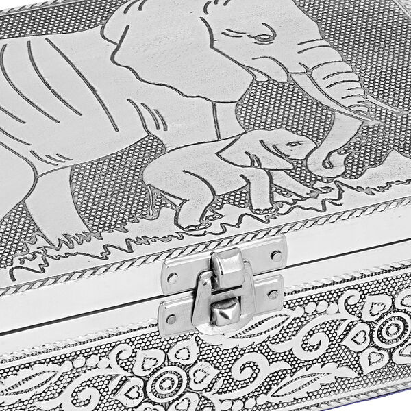 Set of 2 - Elephant Embossed Jewellery Storage Box with Red Velvet Lining (Size 17.7x12.7x5.08 Cm)