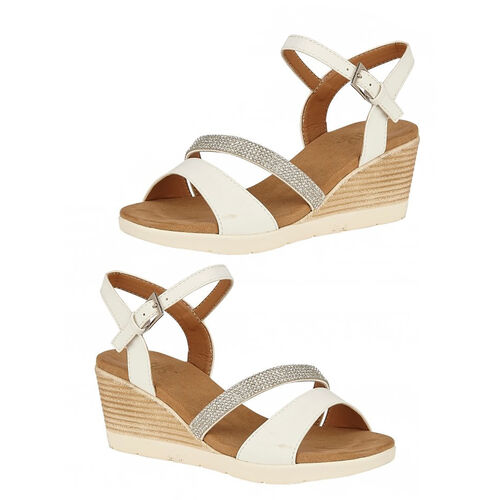 Lotus Lilou Wedge Sandals (Size 7) - White