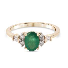 9K Yellow Gold Premium Kagem Zambian Emerald and Diamond Ring 1.00 Ct.