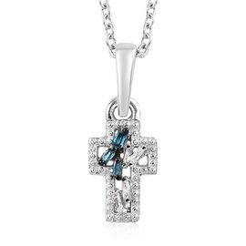 Blue and White Diamond Cross Pendant with Chain (Size 20) in Platinum Overlay Sterling Silver 0.04 C