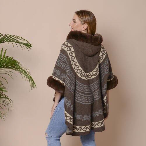 Light Brown Colour Half Round Shape Blanket Wrap with Faux Fur Collar (Size 109.22 x 80.01cm)