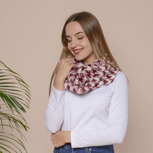 2 Piece Set - Houndstooth and Leopard Pattern Faux Fur Infinity Scarf  (Size 80x16 Cm) - Burgundy and Black
