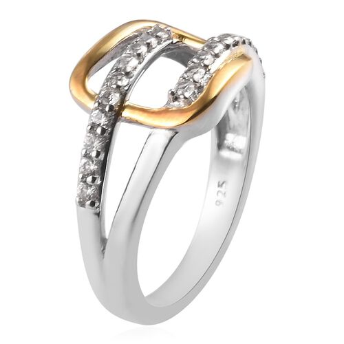 Natural Cambodian Zircon Buckle Ring in Platinum and Yellow Gold Overlay Sterling Silver 0.50 Ct.