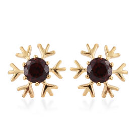 Mozambique Garnet (1.25 Ct) 14K Gold Overlay Sterling Silver Earring  1.250  Ct.