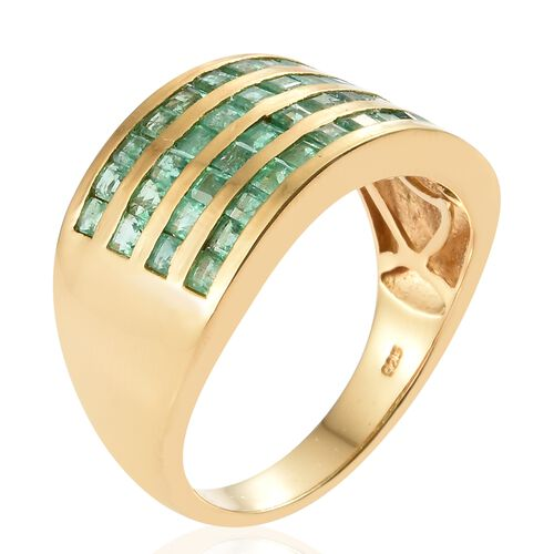 Kagem Zambian Emerald (Princess) Ring in 14K Gold Overlay Sterling Silver 2.250 Ct. Silver wt 6.00 Gms.