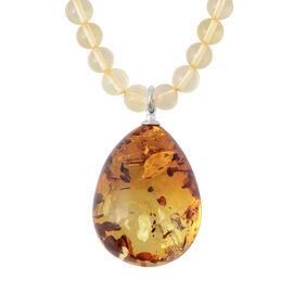Baltic Amber with Champagne Amber Necklace (Size 22) in Sterling Silver