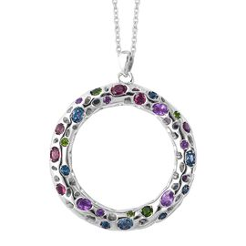 RACHEL GALLEY Multi Gemstone Circle Pendant With Chain in Rhodium Plated Silver 20.14 Grams 30 Inch