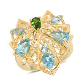 LucyQ Paraibe Apatite (Pear), Russian Diopside and Natural White Cambodian Zircon Ring in Yellow Gold Overlay Sterling Silver 2.060  Ct.