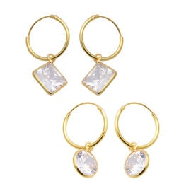 ELANZA - AAA Set of 2 Simulated Diamond Hoop Earrings in Yellow Gold Overlay Sterling Silver
