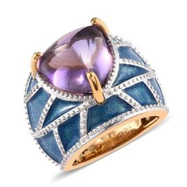 GP 7.25 Ct Amethyst and Blue Sapphire Enamelled Dome Ring in 14K Gold Plated Silver 9 grams
