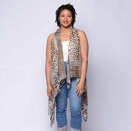 Animal Print Sleeveless Kimono in Brown and Beige (Size 43x90cm)