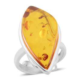 Baltic Amber Adjustable Ring in Sterling Silver, Silver wt 6.00 Gms