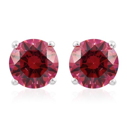 J Francis - Sterling Silver (Rnd) Stud Earrings (with Push Back) Made with Red SWAROVSKI ZIRCONIA
