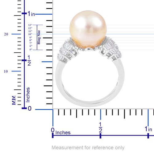 Collectors Edition- Very Rare Size South Sea Golden Pearl (Rnd 10.5-11mm), Diamond Ring in Platinum Overlay Sterling Silver