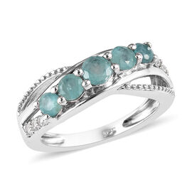 1 Carat Grandidierite and Zircon 5 Stone Criss Cross Ring in Platinum Plated Sterling Silver
