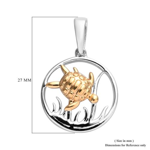 Platinum and Yellow Gold Overlay Sterling Silver Turtle Pendant