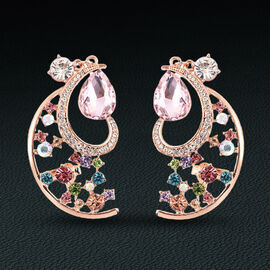 Designer Inspired - Pink and Multi Colour Crystal Climber Earrings (with Push Back) in Rose Gold Ton