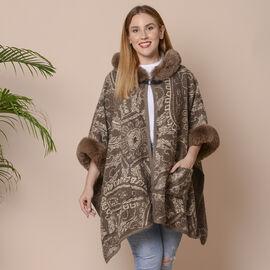 Last Chance- Beige and Brown Colour Faux Fur Hat Cape with Cashew Flower Pattern (Size 124.46 x 78.7