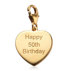 14K Gold Overlay Sterling Silver Happy 50th Birthday Charm