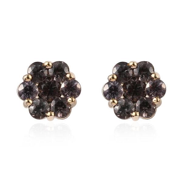 5.90 Ct Colour Change Garnet Floral Stud Earrings in 9K Yellow Gold 1.50 Grams
