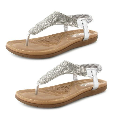OLLY Samba Toe Post Comfort Sandal (Size 6) - Silver