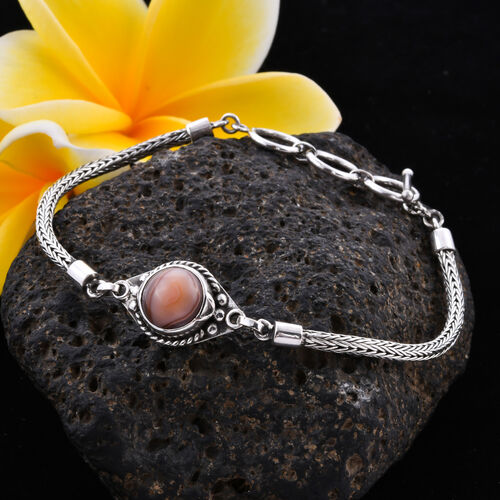 Royal Bali Collection - Lace Agate Tulang Naga Bracelet (Size 8 with Extender) in Sterling Silver 3.29 Ct, Silver wt 9.27 Gms