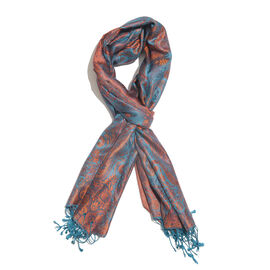SILK MARK - 100% Superfine Silk Turquoise, Orange and Multi Colour Paisley Pattern Jacquard Jamawar